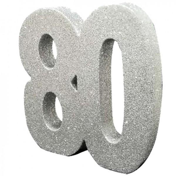 Tischdeko glitzernde Zahl 80 silber 20cm