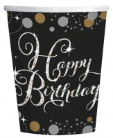8 Golden Happy Birthday Becher 266ml