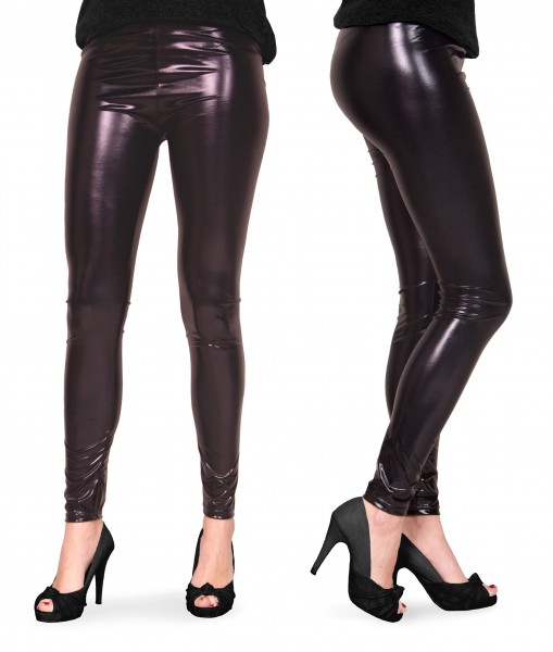 Skinny legging in zwart metallic