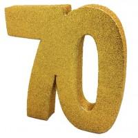 Goldene Zahl 70 Tischdeko glitzernd