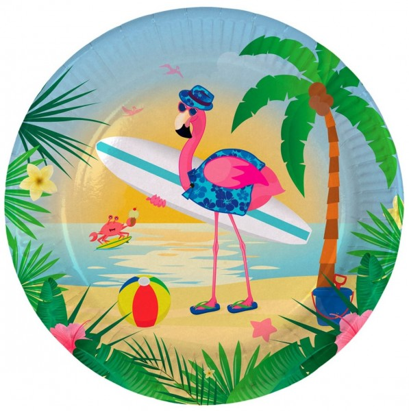 8 platos de papel Surfer Flamingo 23cm