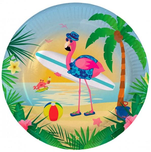8 Surfer Flamingo Pappteller 23cm