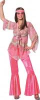 Rosa 70er Jahre Hippiekostüm für Damen