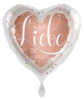 Herz Folienballon Hochzeitsgruß 45cm