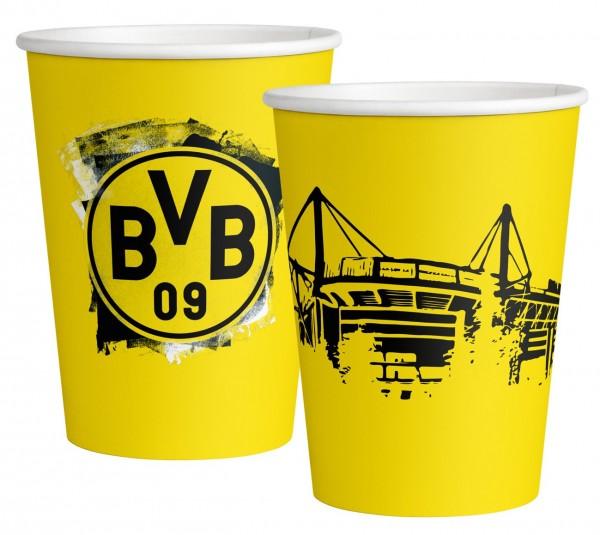 6 vasos de papel BVB Dortmund 500ml