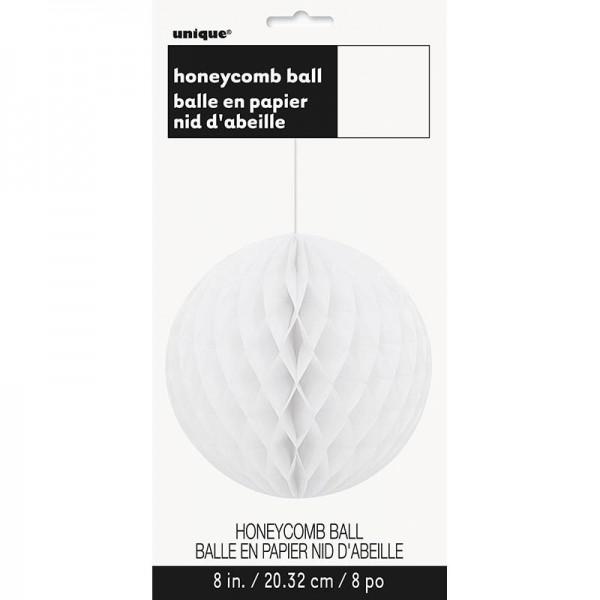 Boule nid d'abeille décorative miel blanc 20cm