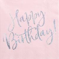 20 Pink Birthday Servietten 33cm