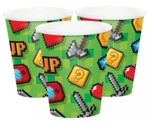 8 Level Up Birthday paper cups 266ml