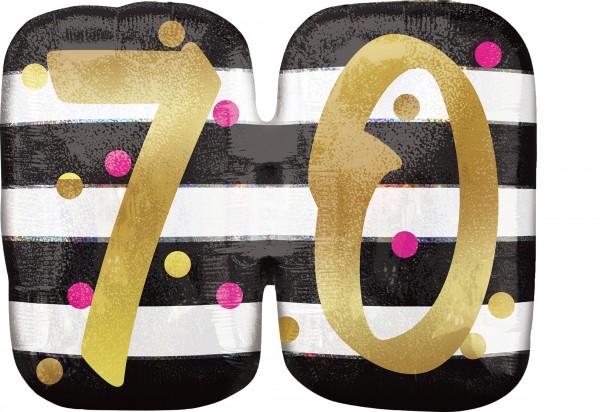 Folienballon 70 black-white-gold