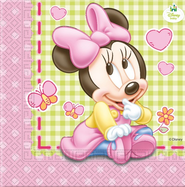 20 Minnie Mouse baby shower napkins 33cm
