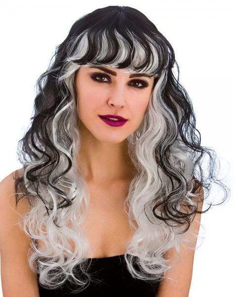 Perruque Halloween Ava noir et blanc