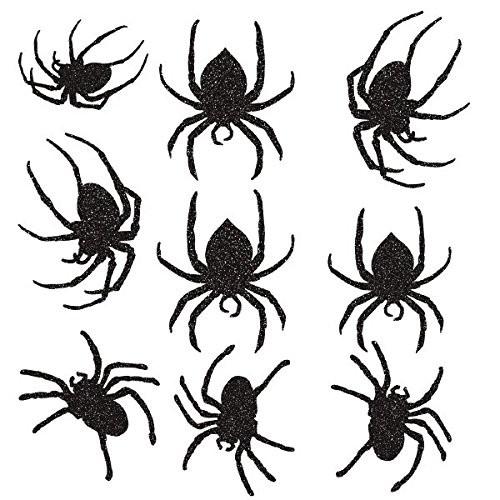 9 Halloween Glitzer-Spinnen