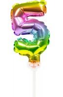 Regenbogen Tortendeko Ballon Zahl 5