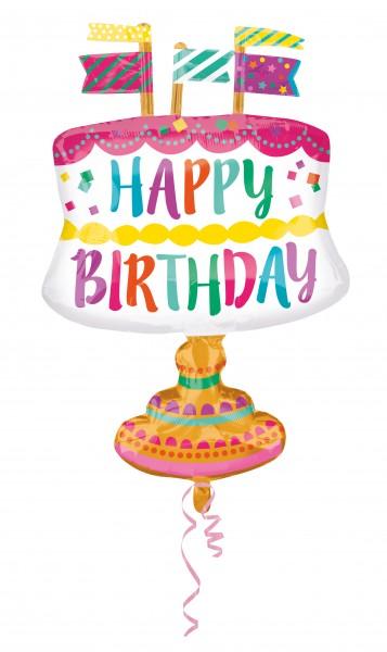 Geburtstagsballon Torte mit Fähnchen