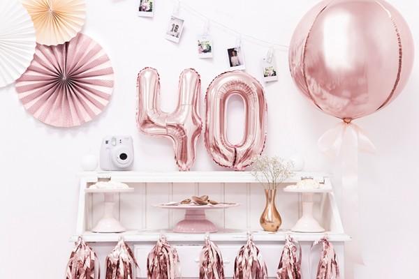 Bola fiesta globo sobre oro rosa 40cm 3