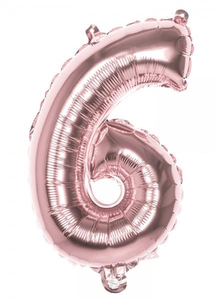 Ballon aluminium numéro 6 or rose 36cm