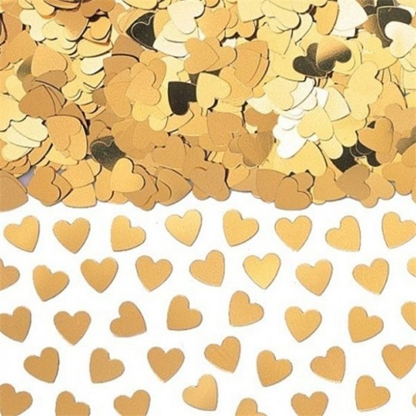 Goldenes Herzkonfetti metallic 14g