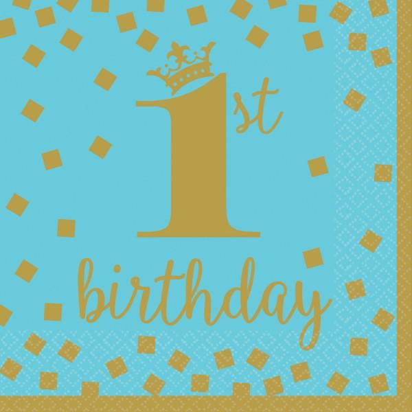 16 Bluestar 1st Birthday Servietten 33cm