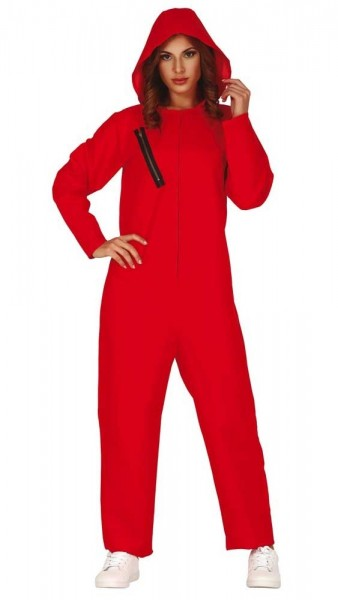 Roter Bankräuberin Overall Damenkostüm
