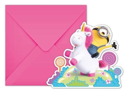 6 Minions Einladungskarten Einhornliebe