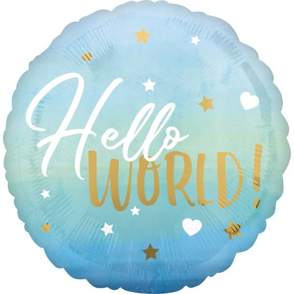 Ballon aluminium Hello World bleu 45cm