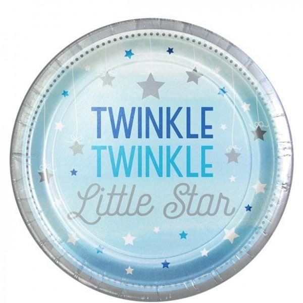8 platos de papel para baby shower Twinkle 23cm