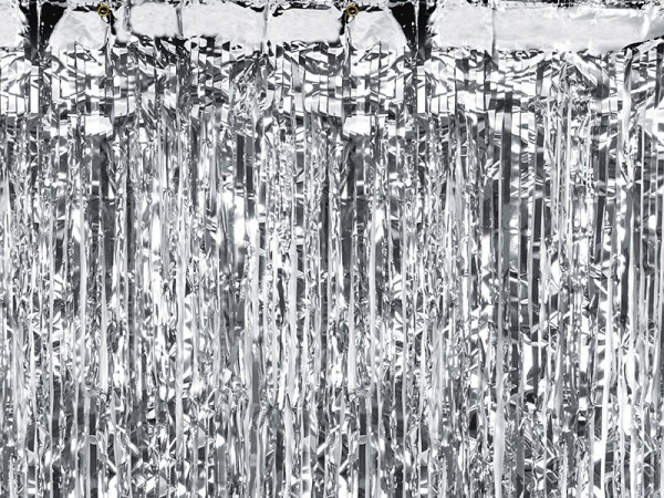 Silver metallic tinsel curtain 90cm x 2.5m