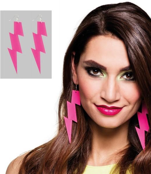 Neonowe różowe kolczyki błyskawice