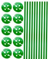10 Ballonstäbe mit Halterung grün