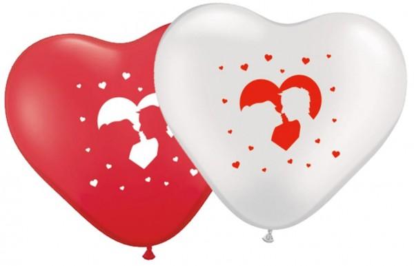 8 Liebespaar Herzballons 27cm