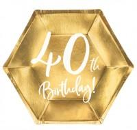 6 Glossy 40th Birthday Teller 20x17cm