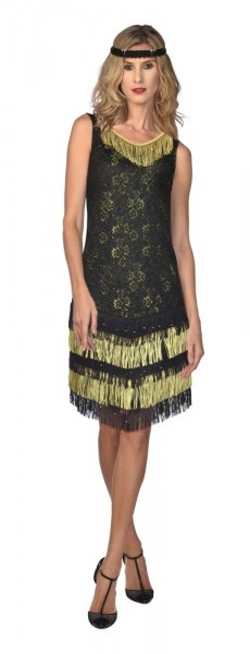 Charleston Flapper Dress Black & Gold