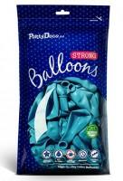 10 Partystar metallic Ballons karibikblau 27cm