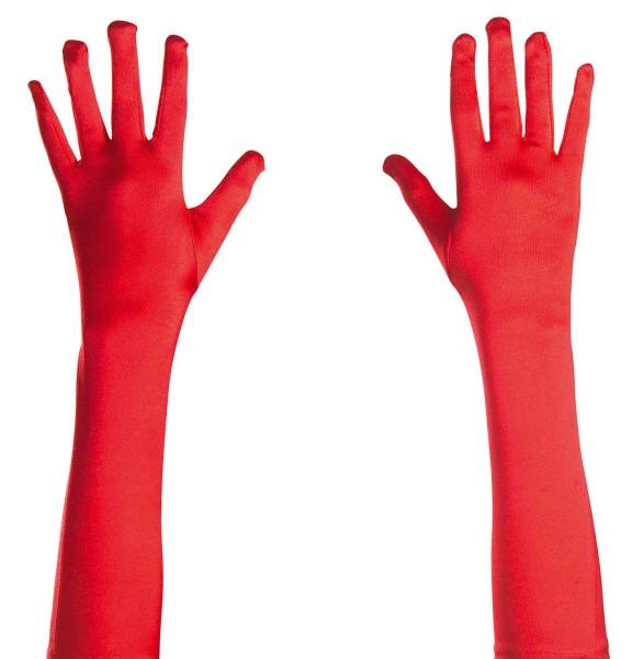 Elastische Rote Satin Handschuhe 43cm