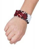 Rot-weißes Wendepailletten Armband