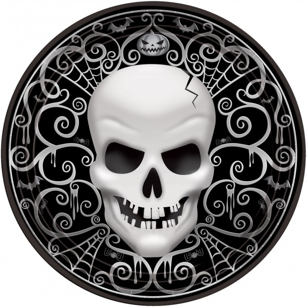 8 kraniet dæmoner papirplader 17cm