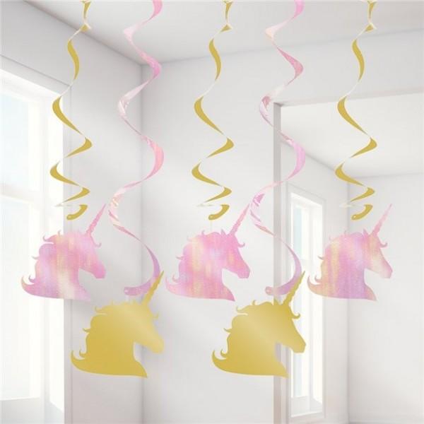 5 Golden Unicorn Spiralhänger