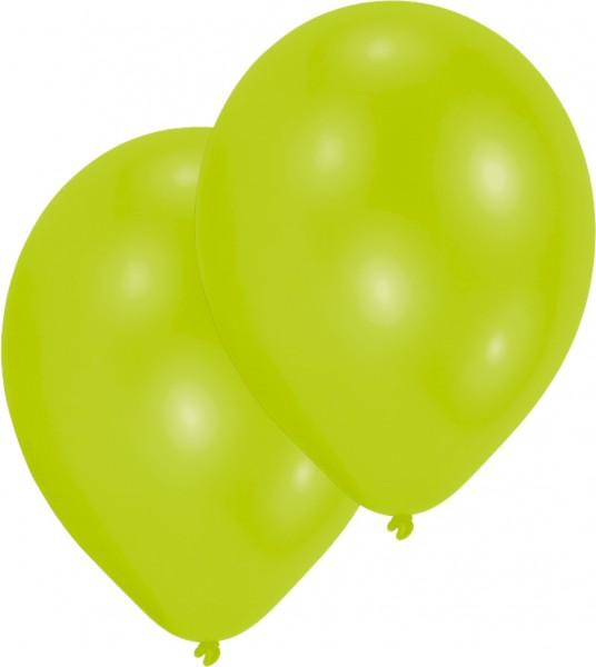 Zestaw 10 limonkowych balonów 27,5 cm