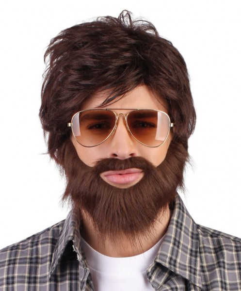 Perruque Alan Hangover avec barbe pleine