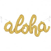 Goldener Aloha Schriftzug Folienballon 114cm