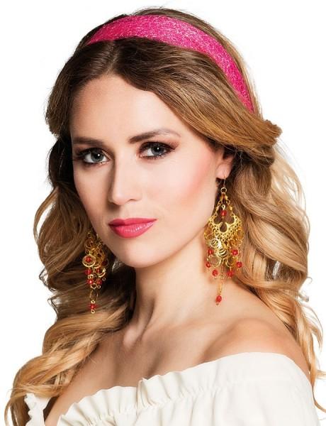 Goldene Orient-Ohrringe Mit Roten Perlen