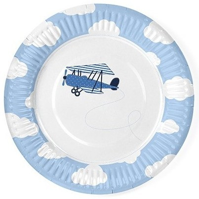 6 platos de papel Little Plane 18cm