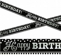 Happy Birthday Banner Black & White Party 7,6m