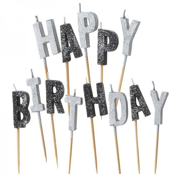 Happy Silver Sparkling Birthday Tortenkerze 13-Teilig 1