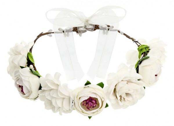 Weißer Frühlingsblumen Haarkranz 17cm