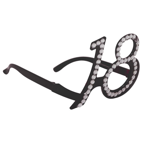 Geburtstagsbrille Diamonds 18 schwarz
