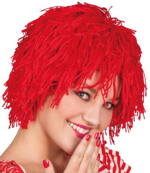 Perruque frange rouge