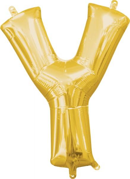 Mini foil balloon letter Y gold 35cm