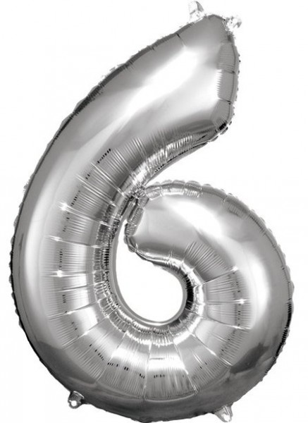 Silver number 6 foil balloon 86cm