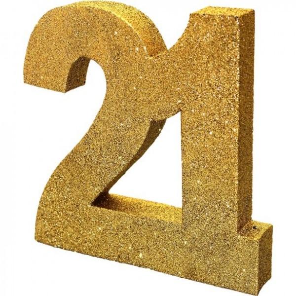 Decoración de mesa número 21 dorado 20cm